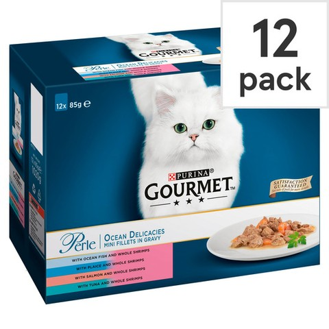 Gourmet Perle Ocean Delicacies Mini Fillets In Gravy Cat Food Pouch 12x85g
