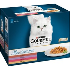 Gourmet Perle Country Medley Mini Fillets In Jelly Cat Food Pouch 12x85g