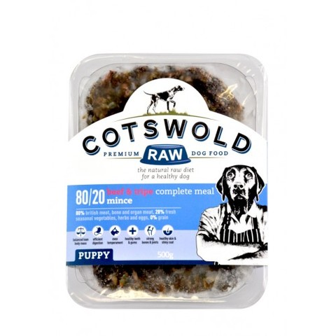 Cotswolds Puppy Working Beef & Tripe Mince Ac 500g