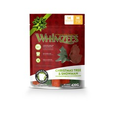Whimzees Christmas Variety Bag Snowman & Christmas Tree Dental Treats For Medium Dogs