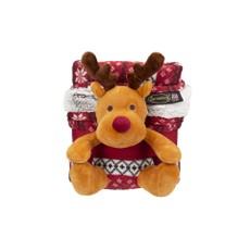 Scruffs Santa Paws Blanket & Reindeer Gift Set Burgandy