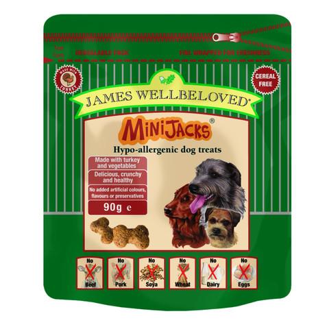 James Wellbeloved Minijacks Grain Free Turkey Dog Treats 10 X 90g