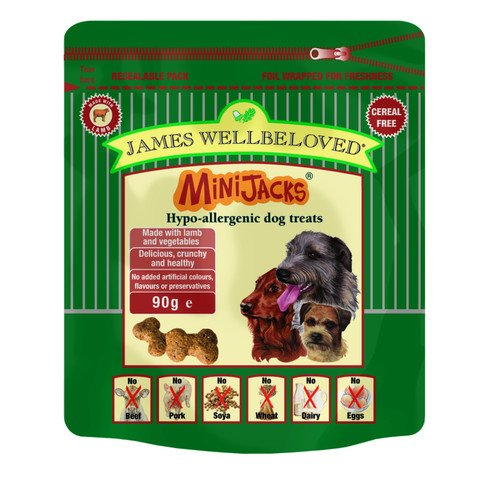 James Wellbeloved Minijacks Grain Free Lamb Dog Treats 10 X 90g